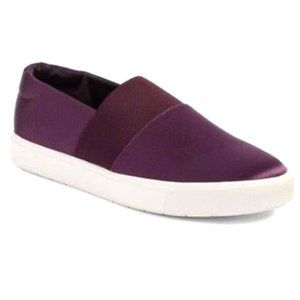 VINCE Satin Leather Slip On Sneakers